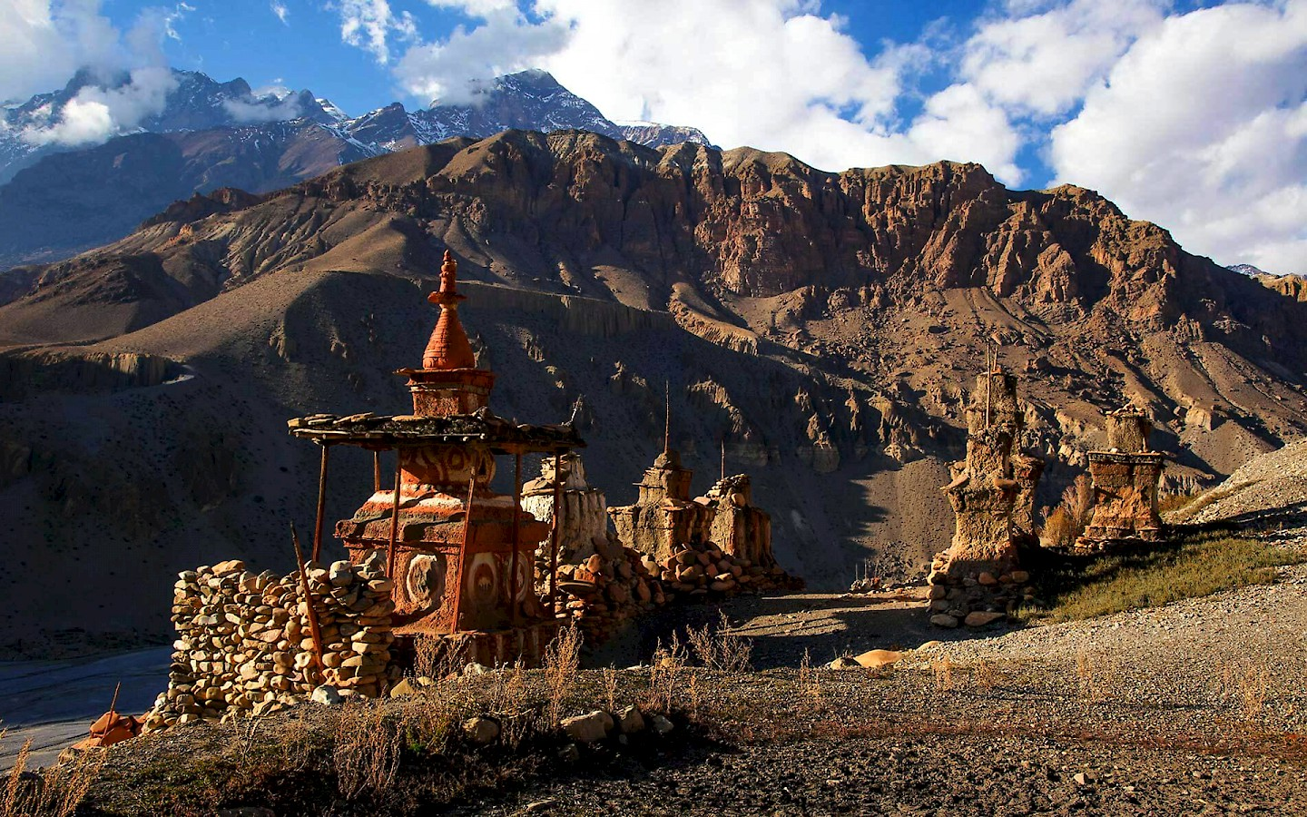 The Upper Mustang, sometimes known as the Forbidden Kingdom, lies in North Western Nepal bordering the high desert region of Tibet to the North and with Annapurna flanking its eastern perimeter. Formerly the Kingdom of Lo.
